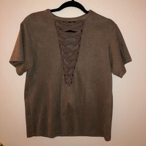 Olivaceous suede cross front top